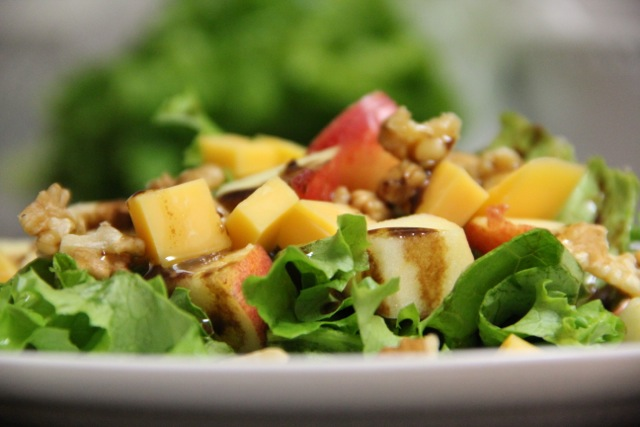Apple & Cheddar Green Salad with Balsamic Vinaigrette ...