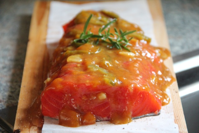 Apricot Jalapeño Glazed Cedar Plank Salmon via Alaska from Scratch