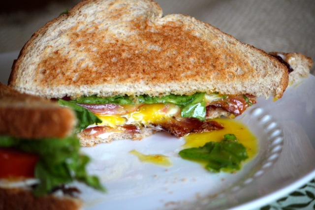 BLT Sandwiches with Sunny Side Up Eggs via Alaska from Scratch
