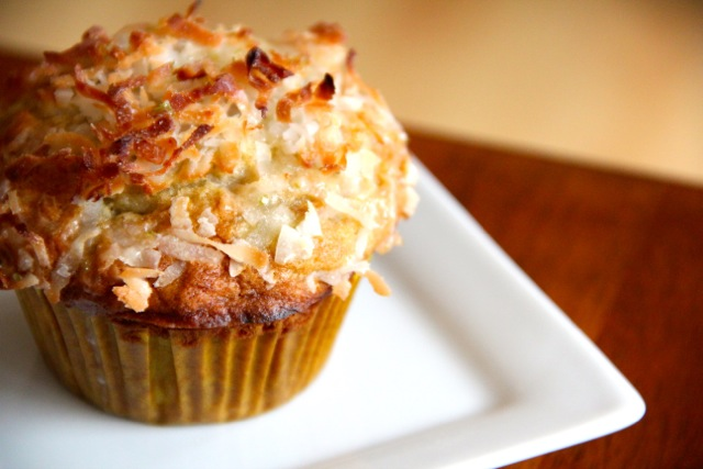 Banana Coconut Muffins with Lime Glaze