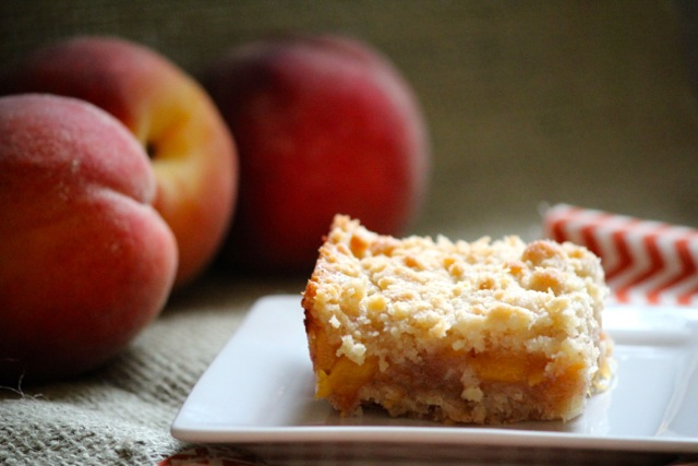 Ginger Peach Crumble Bars via Alaska from Scratch