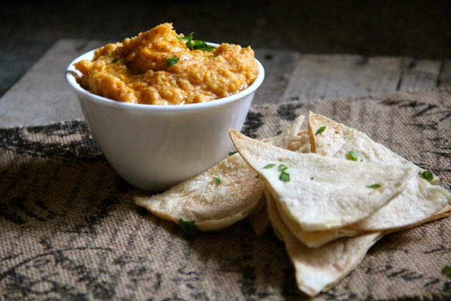 Sweet Potato Hummus with Baked Flour Tortilla Chips