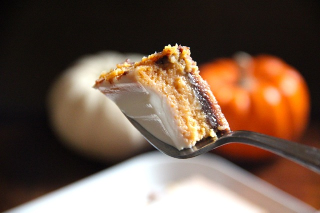 Four Layer Pumpkin Chocolate Cheesecake Bars via Alaska from Scratch