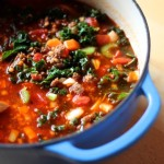 Spicy Chorizo Red Lentil Soup with Kale