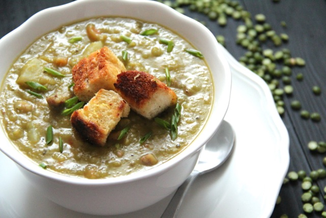 Hearty Split Pea Soup with Lemon & Olive Oil Croutons