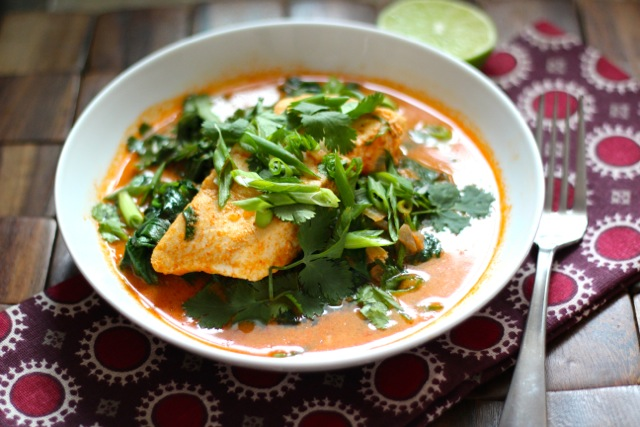 Poached Halibut in Thai Coconut Curry Broth
