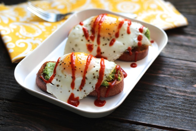 Avocado Toasts with Eggs & Sriracha