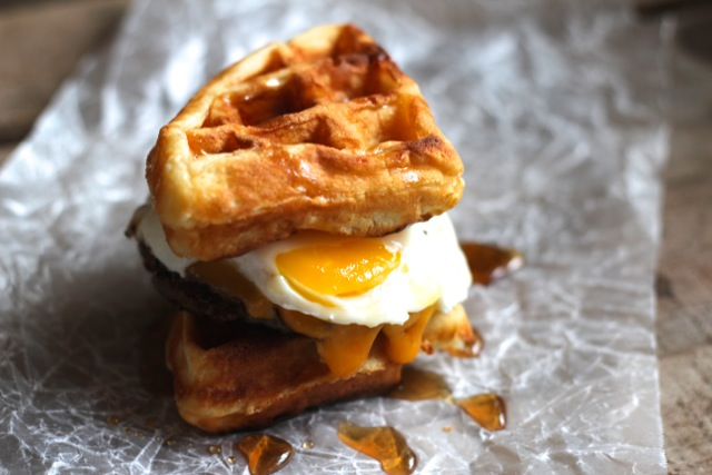 Waffle Breakfast Sandwiches It's usually served in a rye bread sandwich smeared with tangy yellow mustard, but you'll also see it as a topping for poutine. alaska from scratch
