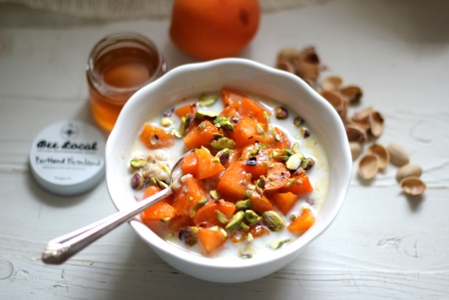 Steel Cut Oats with Honeyed Apricots & Pistachios