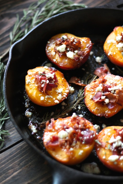 IMG 9353 Cast Iron Roasted Peaches with Bacon, Bleu Cheese & Rosemary