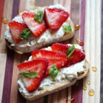 Ricotta Toasts with Strawberries, Basil & Honey
